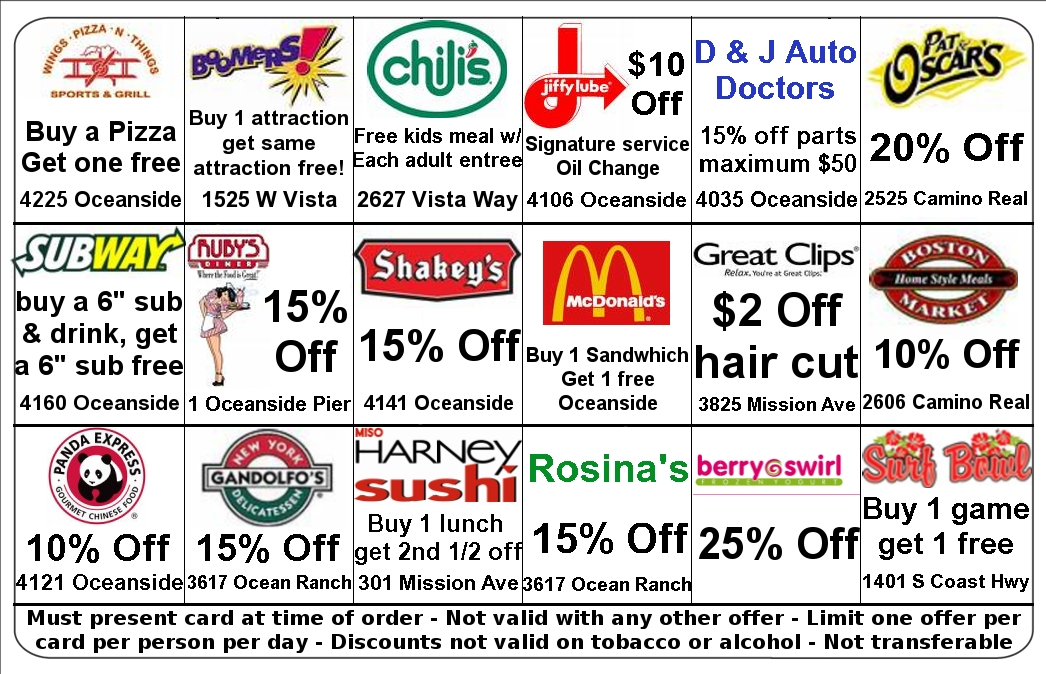 Back of a fundraising discount card showing merchant savings