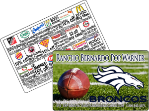Pop Warner Football Fundraising Cards
